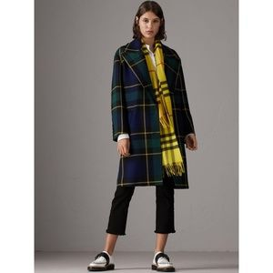 BURBERRY check cashmere scarf in bright lemon